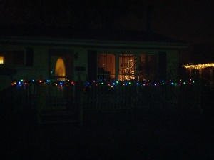 The front porch.  I imagine that next year, we will have lights on the bushes as well.